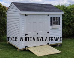 New 8' x 10' White Vinyl A Frame Shed for Sale in Stow, MA