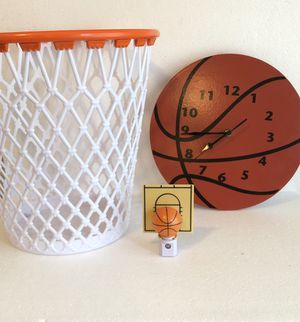 Basketball clock wastebasket & night light sports room decor for Sale in Painesville, OH