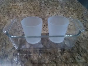 Pyrex bowl & 2 candle holders..pickup only for Sale in Apopka, FL