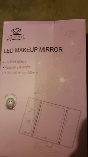 MAKARTT XLarge Lighted Big Makeup Mirror 3X/5X/10X Magnifying Trifold Vanity Mirror Best Gift for Women White for Sale in Stockton, CA