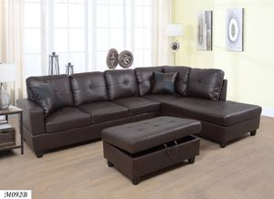 3 PC Sectional Sofa Set, (Brown) Faux Leather + Free Storage Ottoman for Sale in San Diego, CA