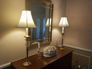 Pair of Brass Crystal Lamps for Sale in Fort Lauderdale, FL