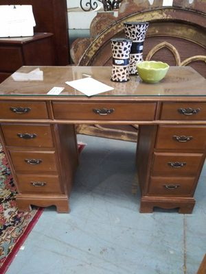 Antique small 9 drawer desk with glass top for Sale in Tucson, AZ