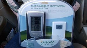 Wireless Indoor/outdoor thermometer with dual alarm clock for Sale in Puyallup, WA