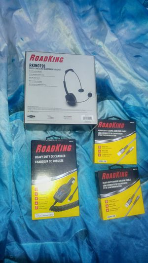 Road king headset car charger and micro USB cables for Sale in Post Falls, ID