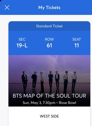 BTS Tickets 100% Authentic!!! for Sale in Federal Way, WA