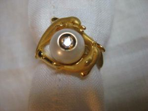 New Galatea Diamond in a Pearl 14K Dolphin Ring for Sale in Los Angeles, CA