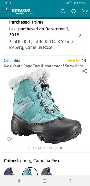 Columbia snow boots big kid size 3 for Sale in Chicago, IL