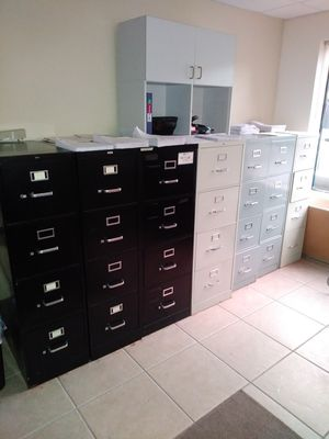 """3 black 52"""" high like new file cabinets for Sale in Port St. Lucie, FL"""