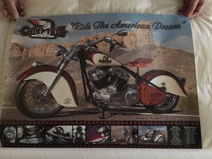 Indian Motorcycle Poster Rare Vintage for Sale in Claremont, CA