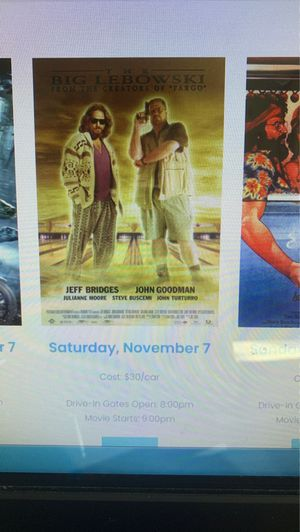 Monterey drive in movie sat 11/7 big Lebowski 8:00 for Sale in Hayward, CA
