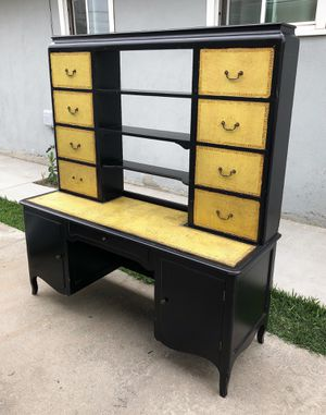 Free Vintage Wood and Leather Chic Desk Book shelf Cabinet for Sale in Whittier, CA