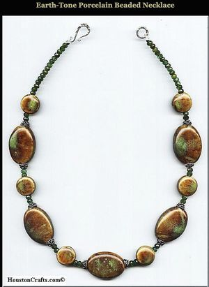 Earth-Tone Porcelain Beaded Necklace for Sale in Houston, TX