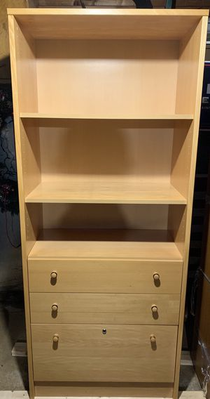 WOOD SHELVING UNIT W/Drawers for Sale in Des Plaines, IL