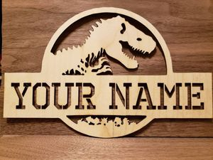 Personalized wood dinosaur sign. Free shipping for Sale in Quincy, IL