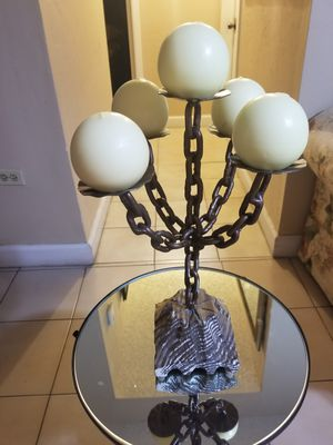 Gorgeous candelabro iron chain and wood base for Sale in Miami, FL