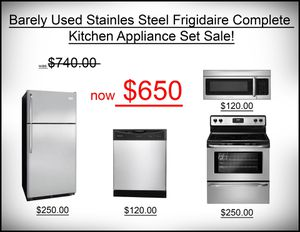 Frigidaire Stainless Steel Complete Kitchen Appliance Set for Sale in Goulds, FL