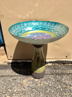 Bird Bath or Feeder for your garden! ! So cute...Glass Ornate bowl choose a base! for Sale in Bayfield, CO