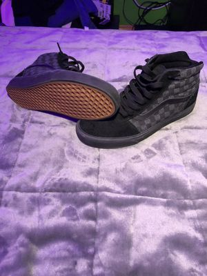 All black high top checkered vans with gum bottom soles for Sale in Gresham, OR