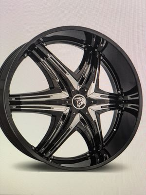 "32"" Diablo elite black with chrome inserts rims and tires for Sale in Fort Lauderdale, FL"