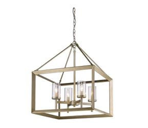 Golden Lighting Smyth 4-Light White Gold Chandelier with Clear Glass Shade for Sale in Dallas,  TX