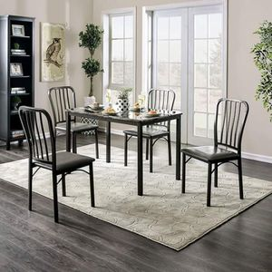 5 PIECE DARK GRAY / GREY FAUX MARBLE TABLE TOP KITCHEN DINING TABLE SET for Sale in Fontana, CA