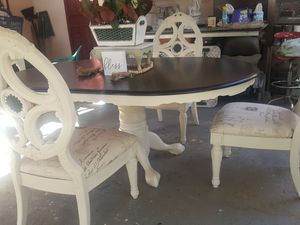 Very nice claw foot table with elegant set of 4 chairs for Sale in Parlier, CA