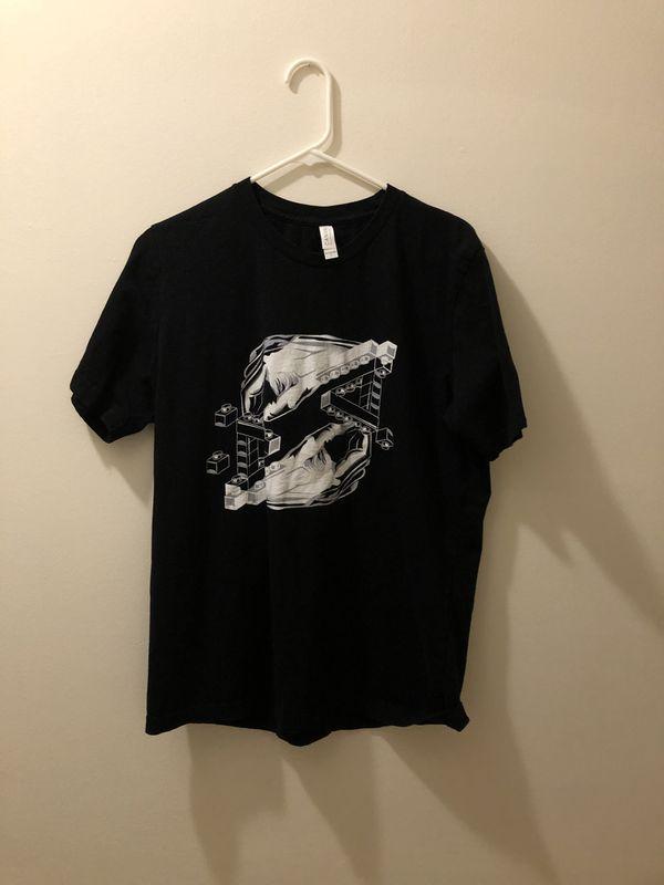 MC Escher Rare Lego Hands T-Shirt - Black (Large)