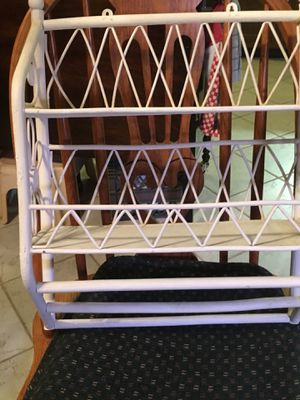 White wooden hand towel rack and double shelf for Sale in Strongsville, OH