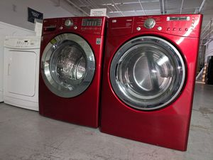 Red Gas LG Laundry Set - Tromm with Warranty for Sale in Longmont, CO