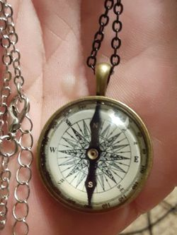 Sterling silver Necklace With Compass pendant Aslo Including a Black Chain with It for Sale in New Port Richey,  FL