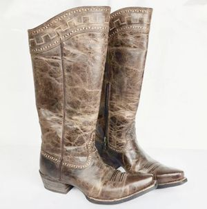 """Women's Ariat Zip Brown Leather 15"""" Embroidered 10011941 Western Boots 7.5 B for Sale in Dallas, GA"""