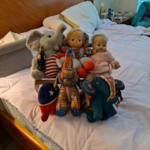 Metal Bench Seat With toys And 4 Elephants for Sale in Alexandria, VA