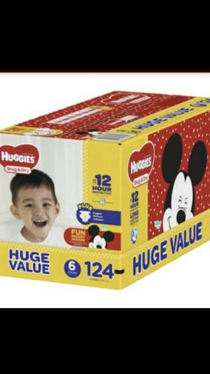 HUGGIES 124 DIAPERS SIZE 6 LARGE BOX for Sale in Tacoma, WA