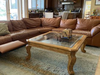 Wooden Detailed Coffee Table With Glass Top for Sale in Calabasas,  CA