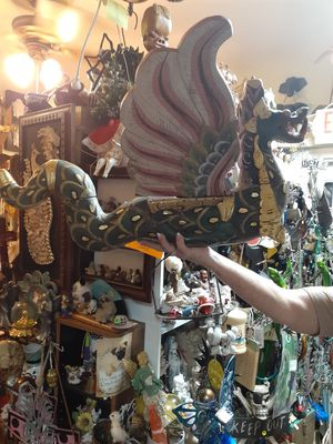 Cool large carved wooden flying dragon spirit chaser piece from indonesia for Sale in Dunedin, FL