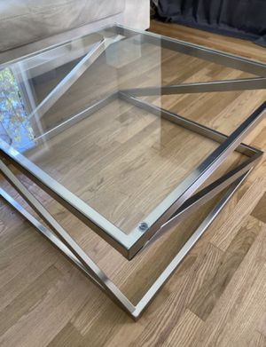 Coylin Coffee table - glass / silver / mirrored for Sale in Santa Clara, CA