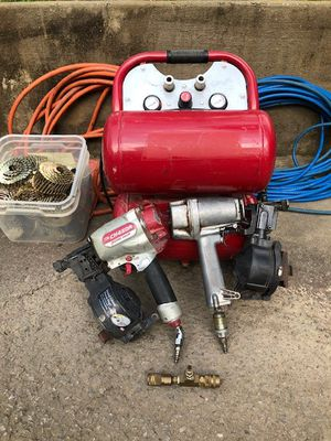 Dual tank air compressor w/roofing nailguns and accessories for Sale in Cross Plains, TN
