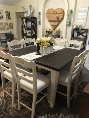 Table counter height high top pub bar dining dinner kitchen farmhouse off white distressed seats 8 for Sale in Glendale, AZ