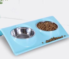 Double dog cat bowl high grade stainless steel pet bowl spill-proof resin table, food waterer for cats and dogs for Sale in Lawrenceville,  GA