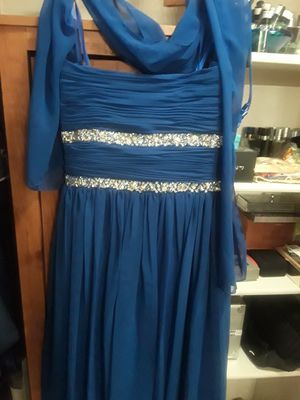Beautiful Royal Blue Prom/ Evening Dress with scarf. Size Large. for Sale in Cedar Hill, TX