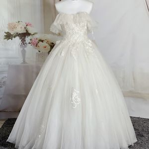 Light Cream Strapless Sweetheart With Ruffles Princess Wedding Dress/reception Dress/Quinceanera&Sweet 16 Dress for Sale in Fort Lauderdale, FL