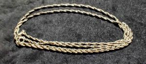 """Sterling Silver Twisted Rope Necklace made in Italy 30"""" long for Sale in East Providence, RI"""