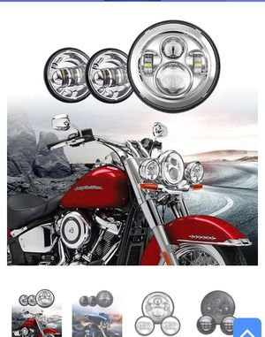 Led headlight and pair of passing lights for Harley Davidson motorcycle for Sale in Los Angeles, CA