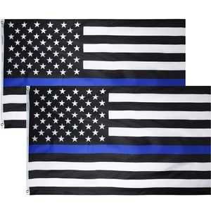 Thin Blue Line Flag (3x5 FT), American Flag with Sturdy and Durable Brass Grommets - Black White and Blue USA Police Flag Honoring Law Enforcement for Sale in East Los Angeles, CA