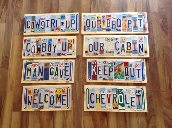 License plate signs!!