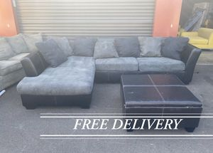 Blue/Grey L Shaped two Piece Sectional & Ottoman (FREE DELIVERY) for Sale in Sherwood, OR