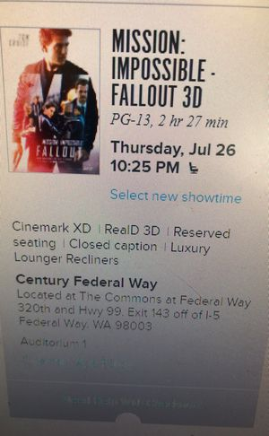 Mission impossible tickets for sale for Sale in Tacoma, WA