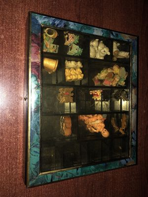 Handcrafted Wood Shadow Box - Knick Knack Shelf - Display Case with Collectible Miniatures for Sale in Houston, TX