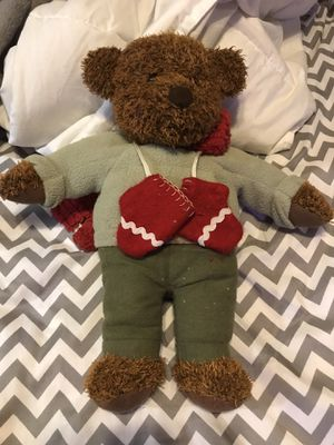Stuffed animal bear with red gloves and scarf 12in tall for Sale in Matlock, WA